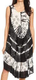 Sakkas Ambra Women's Casual Maxi Tie Dye Sleeveless Loose Tank Cover-up Dress#color_19301-Black
