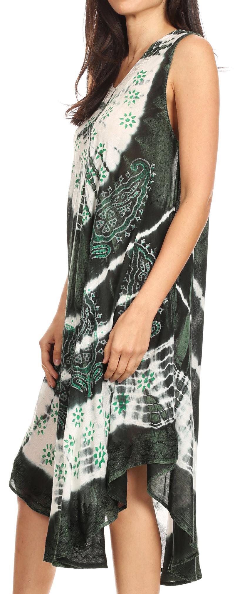 Sakkas Ambra Women's Casual Maxi Tie Dye Sleeveless Loose Tank Cover-up Dress