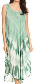 Sakkas Ambra Women's Casual Maxi Tie Dye Sleeveless Loose Tank Cover-up Dress#color_19302-LtGreen