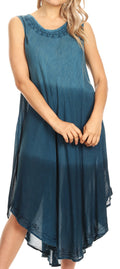 Sakkas Ambra Women's Casual Maxi Tie Dye Sleeveless Loose Tank Cover-up Dress#color_19303-Teal