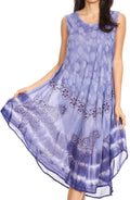 Sakkas Ambra Women's Casual Maxi Tie Dye Sleeveless Loose Tank Cover-up Dress#color_Periwinkle