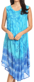 Sakkas Ambra Women's Casual Maxi Tie Dye Sleeveless Loose Tank Cover-up Dress#color_Turquoise