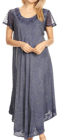 Sakkas Dalida Women's Short Sleeve Corset Tie dye Embroidered Flared Dress#color_19244-Navy