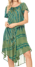Sakkas Dalida Women's Short Sleeve Corset Tie dye Embroidered Flared Dress#color_19311-Green