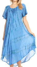 Sakkas Dalida Women's Short Sleeve Corset Tie dye Embroidered Flared Dress#color_19311-Blue