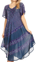 Sakkas Dalida Women's Short Sleeve Corset Tie dye Embroidered Flared Dress#color_19311-Navy