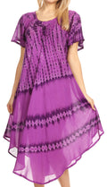 Sakkas Dalida Women's Short Sleeve Corset Tie dye Embroidered Flared Dress#color_19311-Purple