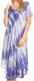 Sakkas Dalida Women's Short Sleeve Corset Tie dye Embroidered Flared Dress#color_19314-Blue