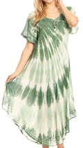 Sakkas Dalida Women's Short Sleeve Corset Tie dye Embroidered Flared Dress#color_19314-Green