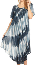 Sakkas Dalida Women's Short Sleeve Corset Tie dye Embroidered Flared Dress#color_19314-Navy
