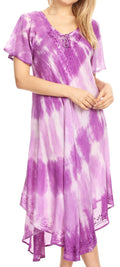 Sakkas Dalida Women's Short Sleeve Corset Tie dye Embroidered Flared Dress#color_19314-Purple