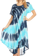 Sakkas Dalida Women's Short Sleeve Corset Tie dye Embroidered Flared Dress#color_19314-RoyalBlue