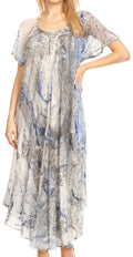 Sakkas Dalida Women's Short Sleeve Corset Tie dye Embroidered Flared Dress#color_19403-C2