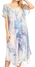 Sakkas Dalida Women's Short Sleeve Corset Tie dye Embroidered Flared Dress#color_19403-C6