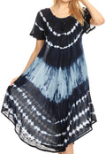 Sakkas Dalida Women's Short Sleeve Corset Tie dye Embroidered Flared Dress#color_Midnight Blue