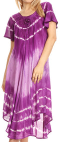 Sakkas Dalida Women's Short Sleeve Corset Tie dye Embroidered Flared Dress#color_Purple