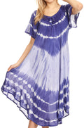 Sakkas Dalida Women's Short Sleeve Corset Tie dye Embroidered Flared Dress#color_Royalblue