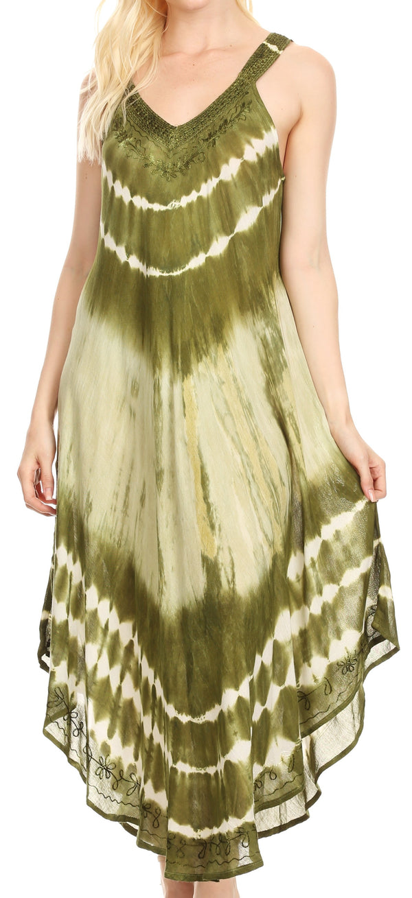 Sakkas Liz  Women's Maxi Loose Sleeveless Summer Casual Tank Dress Cover-up Caftan#color_19320-Green