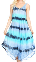 Sakkas Oxa Women's Casual Summer Maxi Long Loose Sleeveless V-neck Dress Cover-up #color_19318-BlueTurq