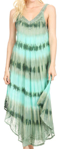 Sakkas Oxa Women's Casual Summer Maxi Long Loose Sleeveless V-neck Dress Cover-up #color_19318-Green