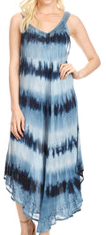 Sakkas Oxa Women's Casual Summer Maxi Long Loose Sleeveless V-neck Dress Cover-up #color_19318-Navy