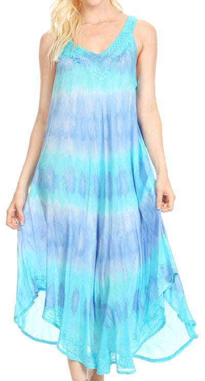 group-19318-Turquoise (Sakkas Oxa Women's Casual Summer Maxi Long Loose Sleeveless V-neck Dress Cover-up )