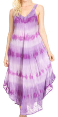 Sakkas Oxa Women's Casual Summer Maxi Long Loose Sleeveless V-neck Dress Cover-up #color_19318-Violet