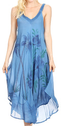 Sakkas Oxa Women's Casual Summer Maxi Long Loose Sleeveless V-neck Dress Cover-up #color_19319-Blue