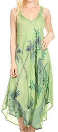 Sakkas Oxa Women's Casual Summer Maxi Long Loose Sleeveless V-neck Dress Cover-up #color_19319-Green