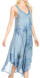Sakkas Oxa Women's Casual Summer Maxi Long Loose Sleeveless V-neck Dress Cover-up