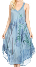 Sakkas Oxa Women's Casual Summer Maxi Long Loose Sleeveless V-neck Dress Cover-up #color_19319-SteelBlue