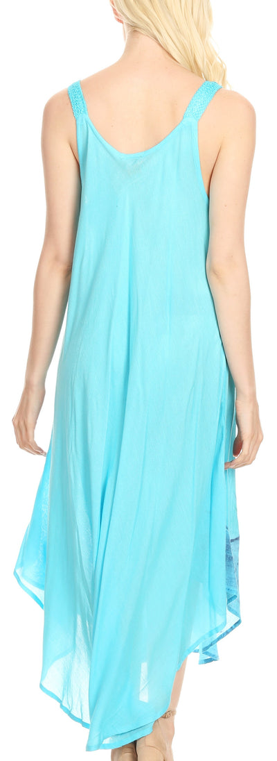 group-19319-Turquoise (Sakkas Oxa Women's Casual Summer Maxi Long Loose Sleeveless V-neck Dress Cover-up )