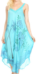 Sakkas Oxa Women's Casual Summer Maxi Long Loose Sleeveless V-neck Dress Cover-up #color_19319-Turquoise
