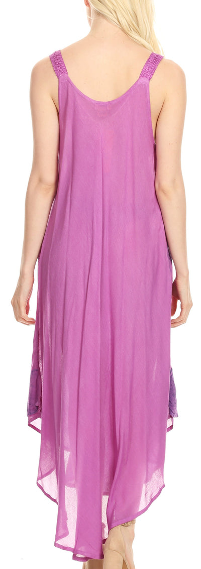 group-19319-Violet (Sakkas Oxa Women's Casual Summer Maxi Long Loose Sleeveless V-neck Dress Cover-up )