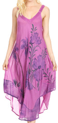 Sakkas Oxa Women's Casual Summer Maxi Long Loose Sleeveless V-neck Dress Cover-up #color_19319-Violet