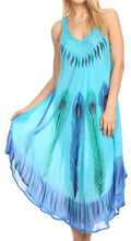 Sakkas Oxa Women's Casual Summer Maxi Long Loose Sleeveless V-neck Dress Cover-up #color_19322-Turquoise