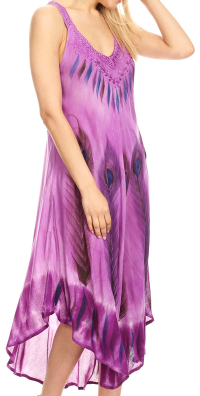 group-19322-Violet (Sakkas Oxa Women's Casual Summer Maxi Long Loose Sleeveless V-neck Dress Cover-up )