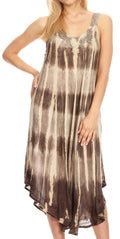 Sakkas Oxa Women's Casual Summer Maxi Long Loose Sleeveless V-neck Dress Cover-up #color_Brown
