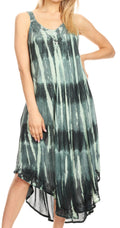 Sakkas Oxa Women's Casual Summer Maxi Long Loose Sleeveless V-neck Dress Cover-up #color_Green