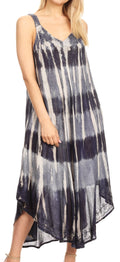 Sakkas Oxa Women's Casual Summer Maxi Long Loose Sleeveless V-neck Dress Cover-up #color_Navy