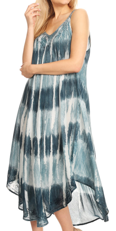 group-Teal (Sakkas Oxa Women's Casual Summer Maxi Long Loose Sleeveless V-neck Dress Cover-up )