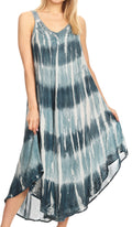 Sakkas Oxa Women's Casual Summer Maxi Long Loose Sleeveless V-neck Dress Cover-up #color_Teal