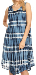 Sakkas Tina Women's Casual Summer Loose Sleeveless Tank Midi Dress Cover-up#color_19326-Navy