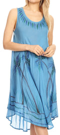 Sakkas Tina Women's Casual Summer Loose Sleeveless Tank Midi Dress Cover-up#color_Ocean Blue