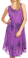 Sakkas Tina Women's Casual Summer Loose Sleeveless Tank Midi Dress Cover-up#color_Purple