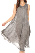 Sakkas Milly Women's Midi Loose Casual Summer Sleeveless Dress Sundress Cover-up#color_19308-Grey