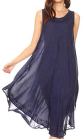 Sakkas Milly Women's Midi Loose Casual Summer Sleeveless Dress Sundress Cover-up#color_19308-Navy