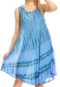 Sakkas Milly Women's Midi Loose Casual Summer Sleeveless Dress Sundress Cover-up#color_19325-Blue