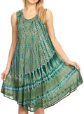 Sakkas Milly Women's Midi Loose Casual Summer Sleeveless Dress Sundress Cover-up#color_19325-Green