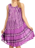 Sakkas Milly Women's Midi Loose Casual Summer Sleeveless Dress Sundress Cover-up#color_19325-Purple